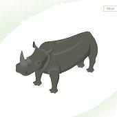 Rhino isolated on white background.
