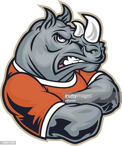 Rhino Mascot Crossed Arms