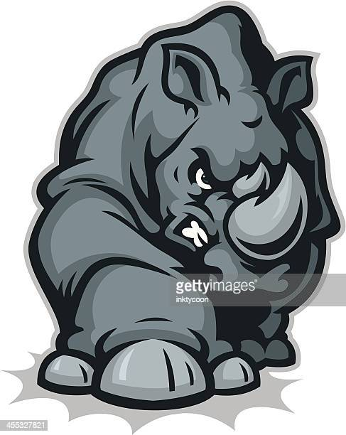 rhino mascot upgrade - animals charging stock illustrations, clip art, cartoons, & icons