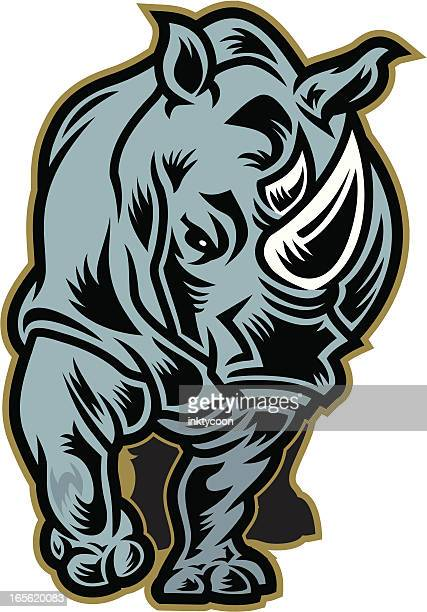 rhino mascot - animals charging stock illustrations, clip art, cartoons, & icons