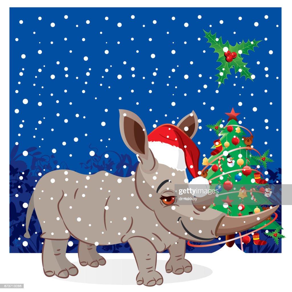 Rhino, Santa Claus : stock illustration