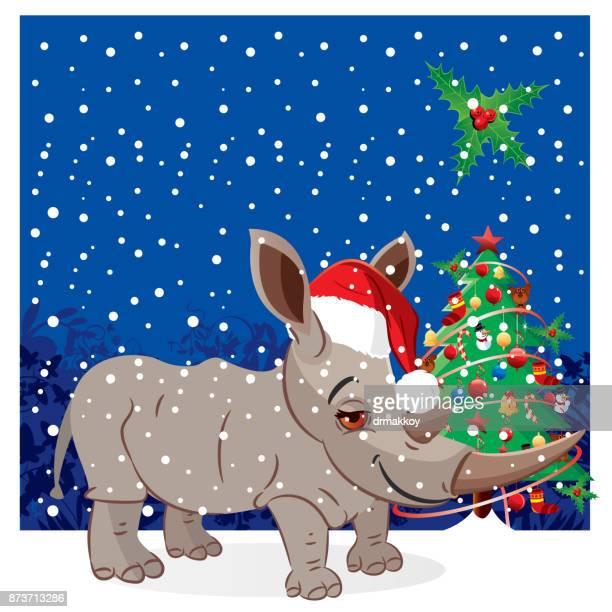 rhino, santa claus - zimbabwe stock illustrations, clip art, cartoons, & icons