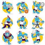 Rhino Sports Mascot Collection Set