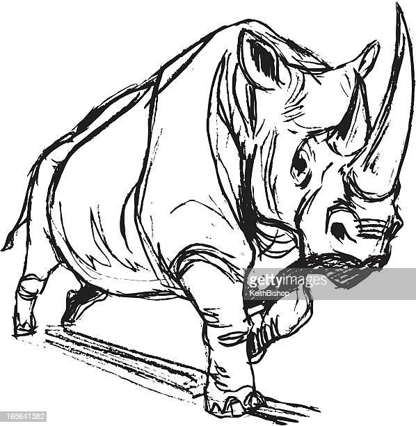rhinoceros charging - animals charging stock illustrations, clip art, cartoons, & icons
