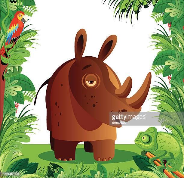 rhinos - savannah stock illustrations, clip art, cartoons, & icons