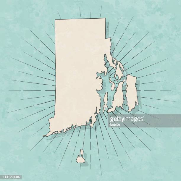 rhode island map in retro vintage style - old textured paper - rhode island stock illustrations