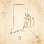 Rhode Island map in retro vintage style - old textured paper
