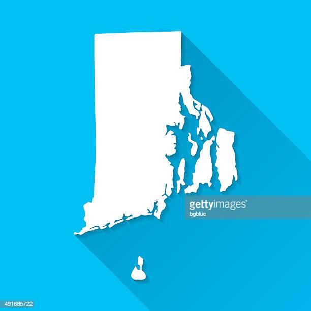 rhode island map on blue background, long shadow, flat design - rhode island stock illustrations