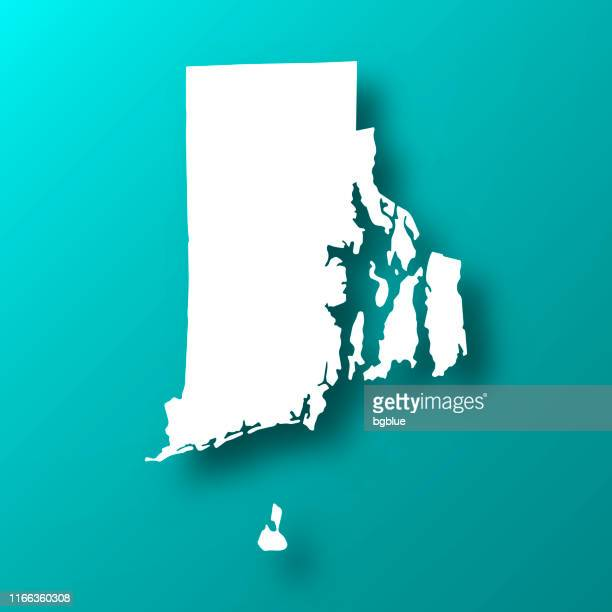 rhode island map on blue green background with shadow - rhode island stock illustrations
