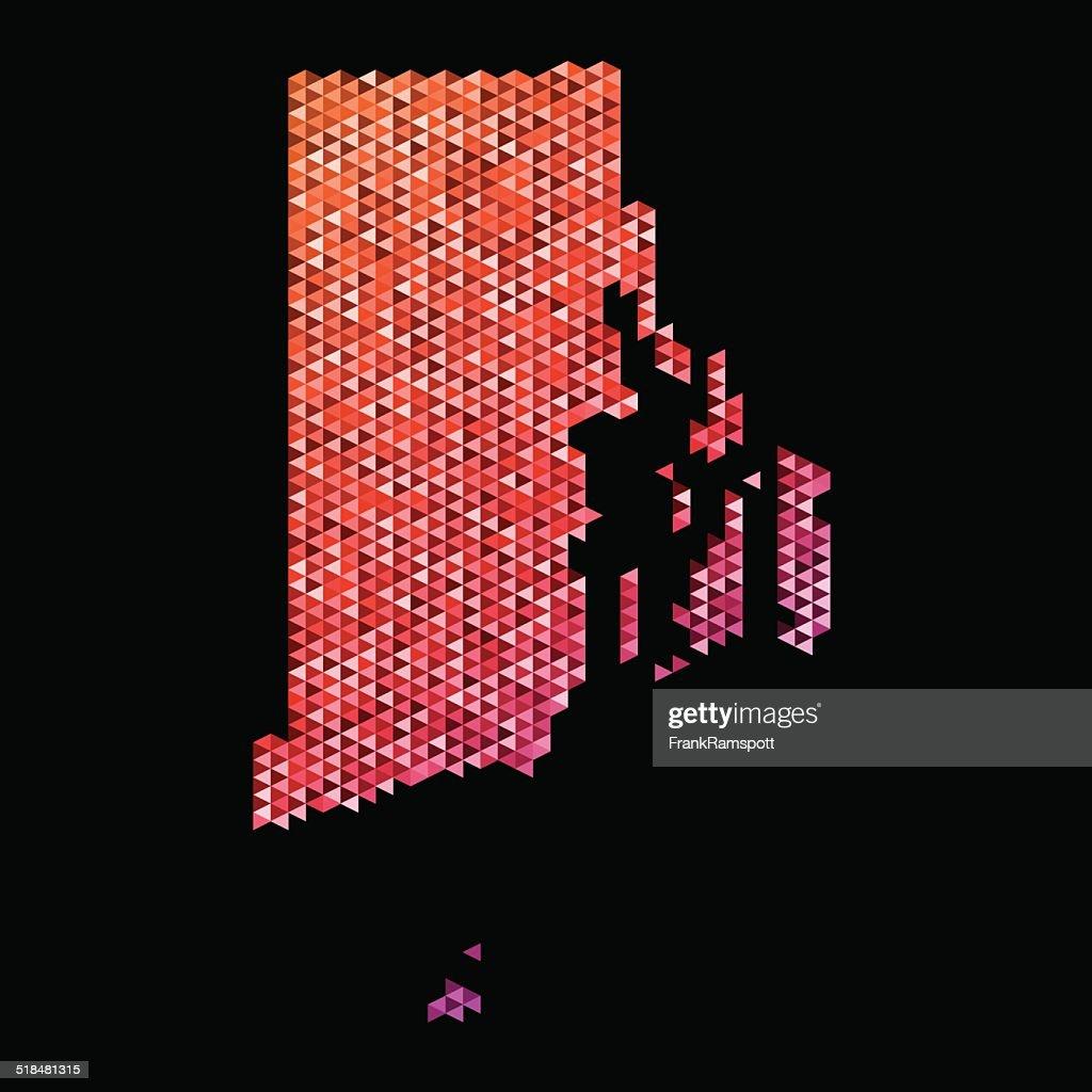 Rhode Island Karte Dreieck Muster-Orange : Stock-Illustration