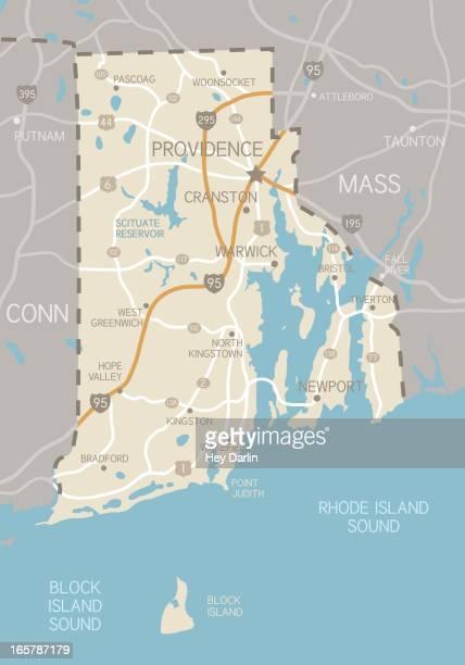 rhode island map - rhode island stock illustrations