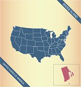 Rhode Island map vector outline illustration highlighted in USA map