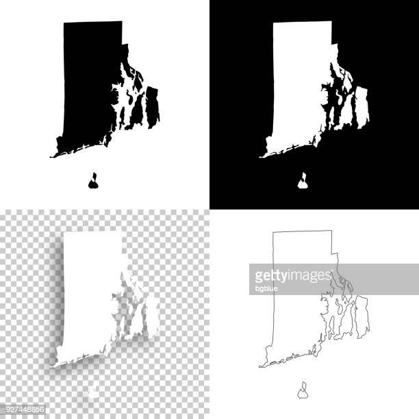 rhode island maps for design - blank, white and black backgrounds - rhode island stock illustrations