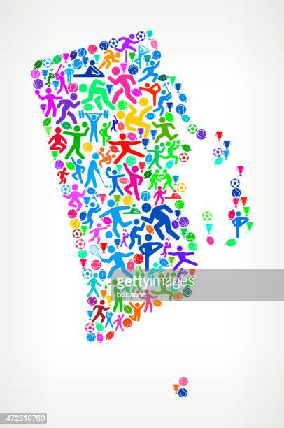 rhode island state fitness sports and exercise pattern vector ba - sports organization stock illustrations, clip art, cartoons, & icons