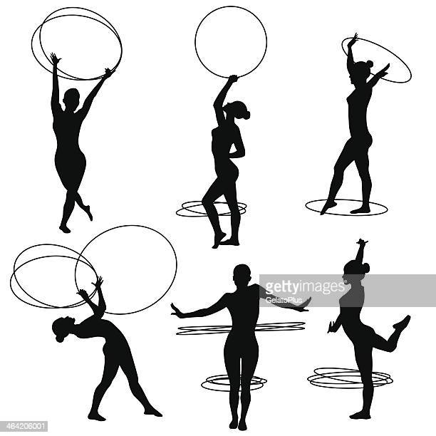 rhythmic gymnastics hoop - gymnastics stock illustrations, clip art, cartoons, & icons