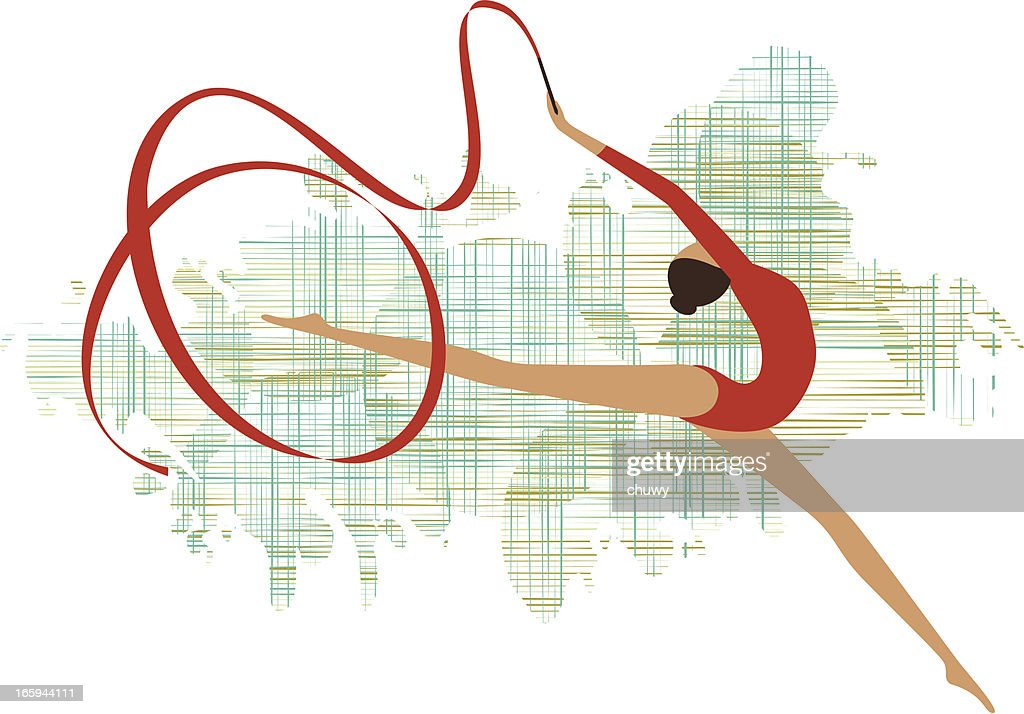 Rhythmic gymnastics : Stock Illustration