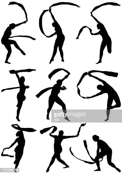 rhythmic gymnastics - ribbon routine rhythmic gymnastics stock illustrations