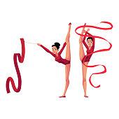Rhythmic gymnasts in leotards, vertical leg split, exercising with ribbon