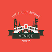 Rialto bridge logo. Venice architectural landmark