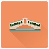 Rialto Bridge over Grand Canal at Venice, Italy flat design vector illustration