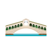 Rialto Bridge over Grand Canal at Venice, Italy isolated icon