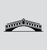 Rialto Bridge Solid Vector Illustration