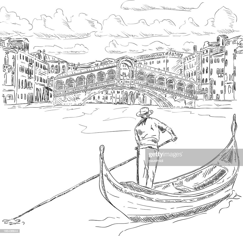Rialto bridge with gondola
