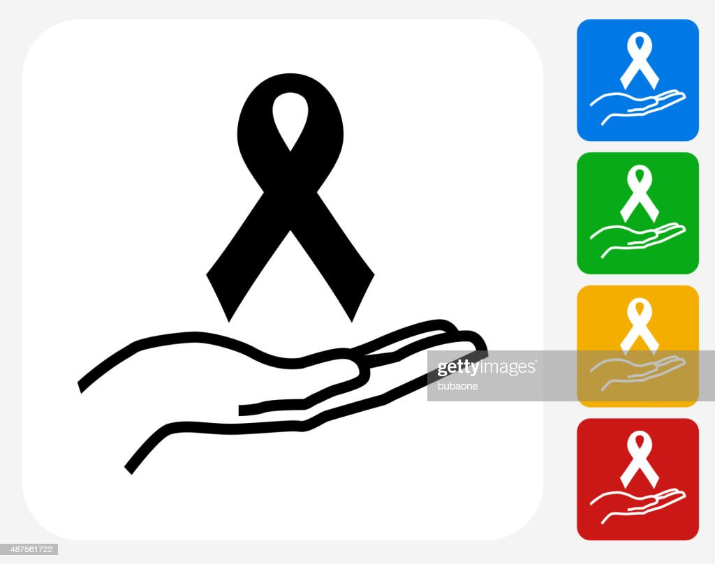 Ribbon and Hand Icon Flat Graphic Design