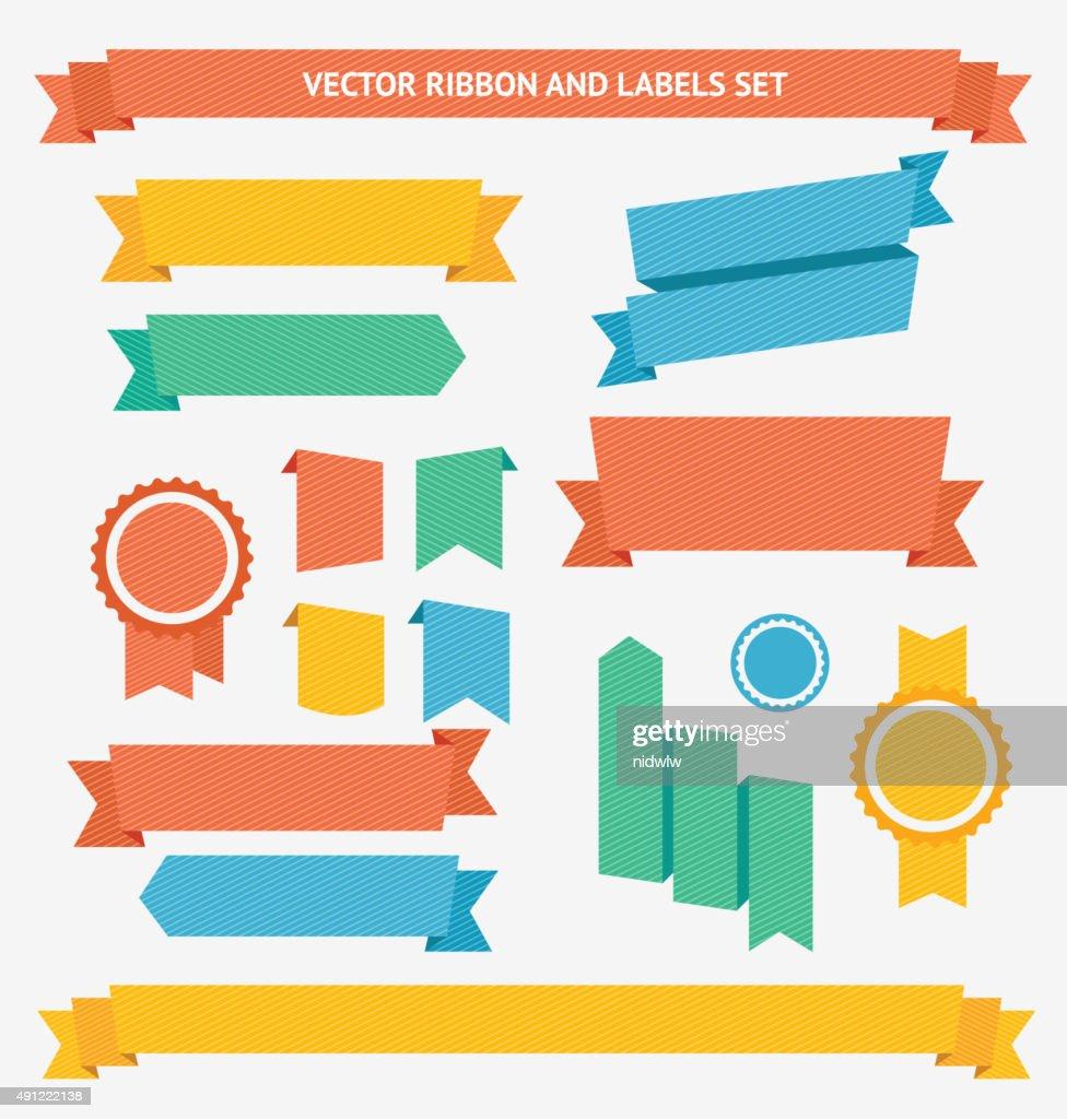 Ribbon and Labels Set. Vector