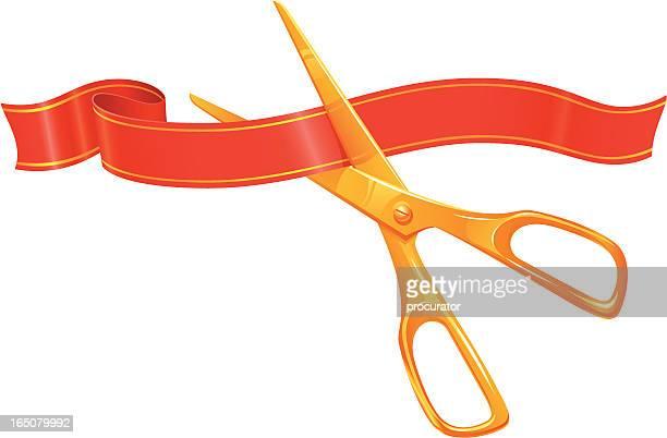 ribbon and scissors - fillet stock illustrations, clip art, cartoons, & icons