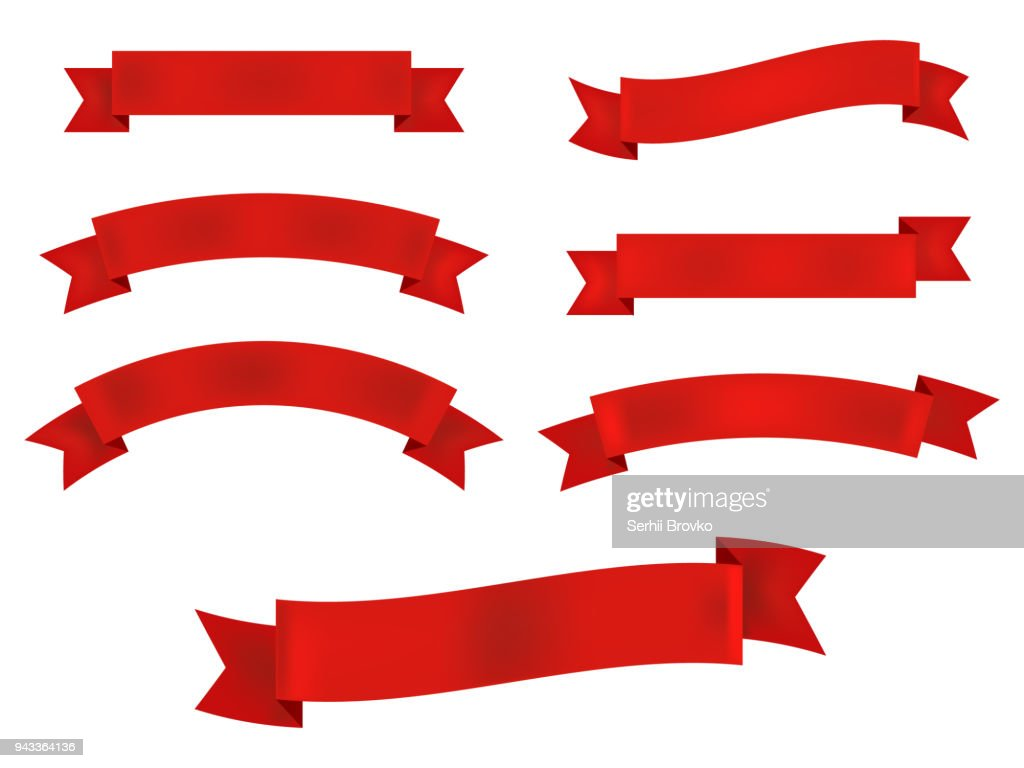 Ribbon banner set isolated on white background. Vector illustration.