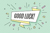 Ribbon banner with text Good Luck