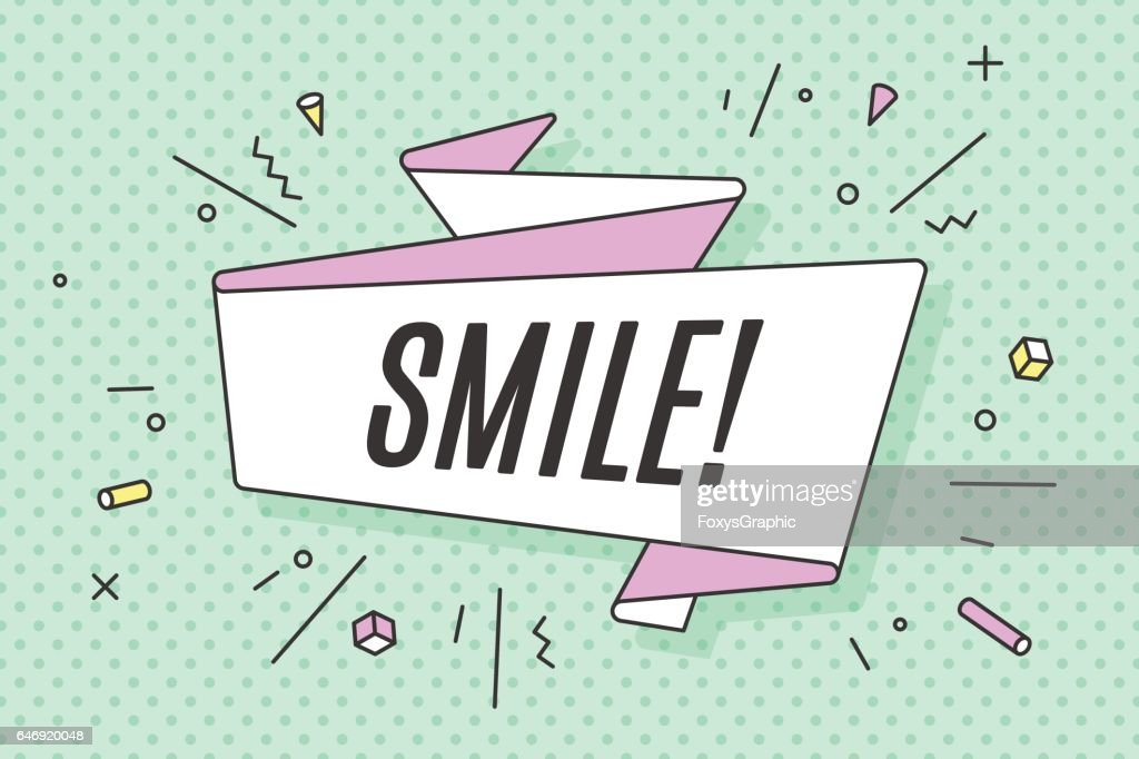 Ribbon banner with text Smile
