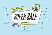 Ribbon banner with text Super Sale