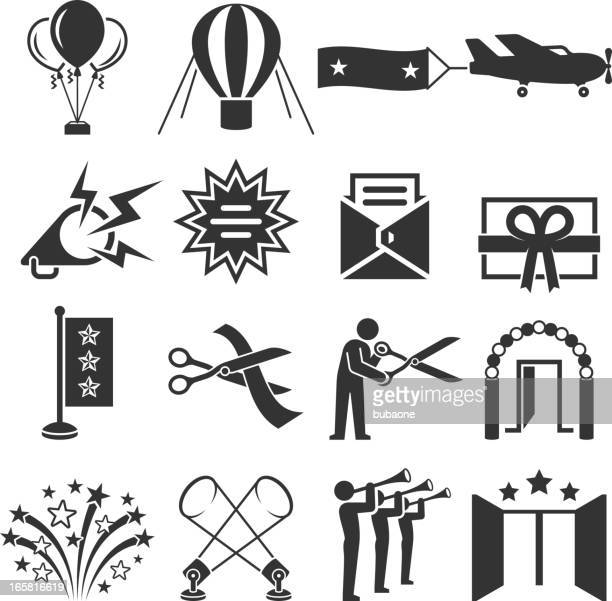 Ribbon Cutting Ceremony black & white vector icon set
