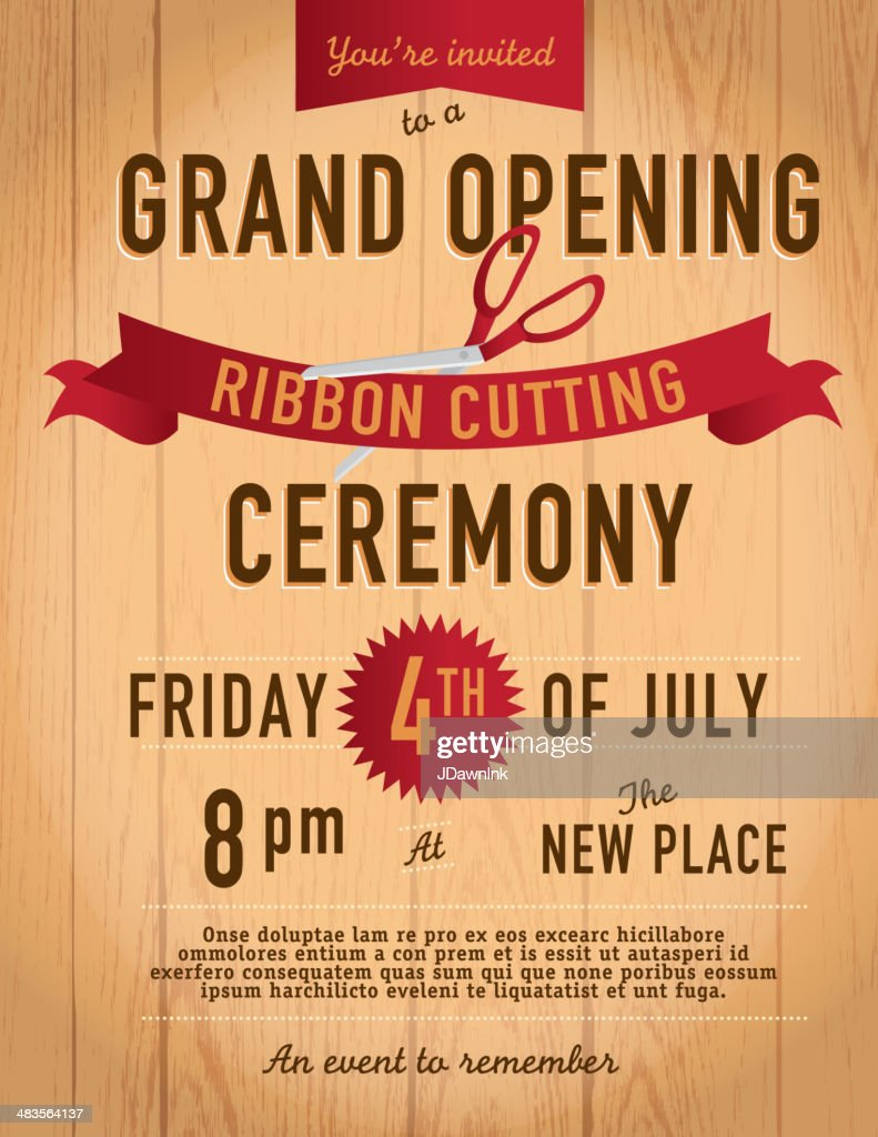 Ribbon Cutting Invitation Design Template On Wood Background Vector