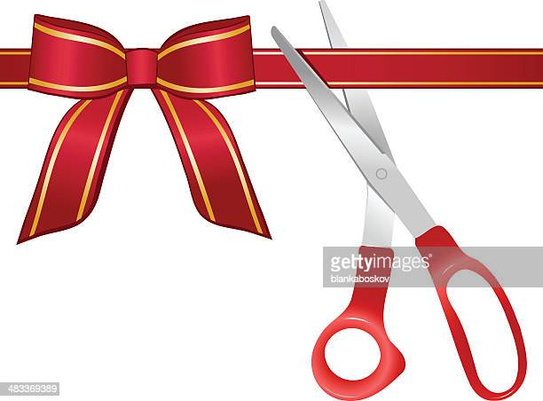 ribbon cutting - opening event stock illustrations