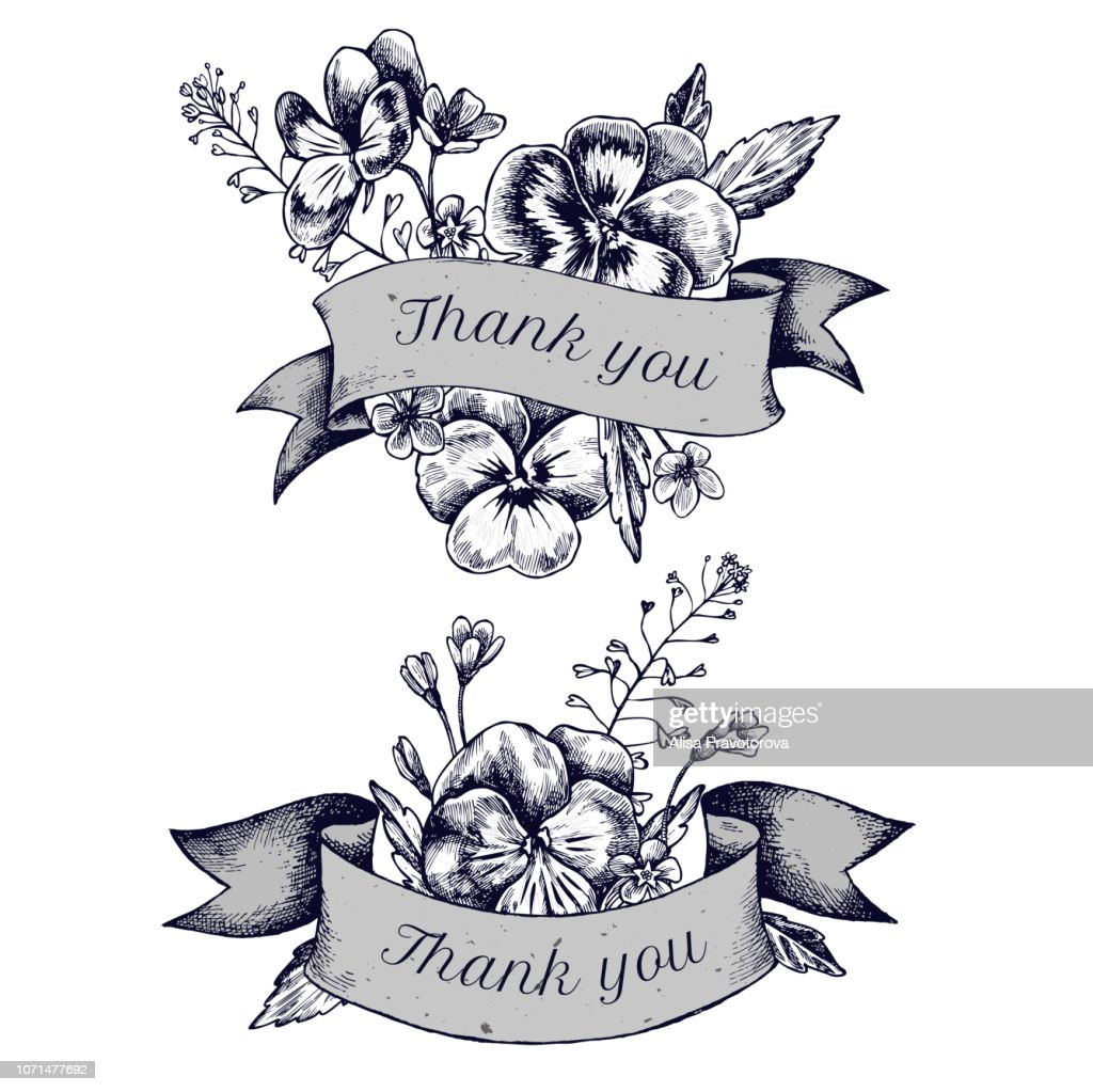 Ribbon design of heartseases and herbs with thank you sing. Hand drawn vector illustration