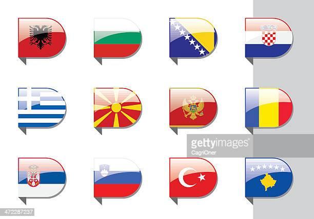 リボン旗: バルカンと東ヨーロッパ - スロベニア国旗点のイラスト素材/クリップアート素材/マンガ素材/アイコン素材