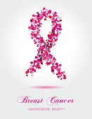Ribbon from little colorful hearts, breast cancer awareness symbol.