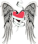 ribbon heart with wing