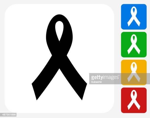 ribbon icon flat graphic design - cancer illness stock illustrations, clip art, cartoons, & icons