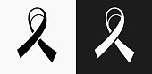 Ribbon Icon on Black and White Vector Backgrounds