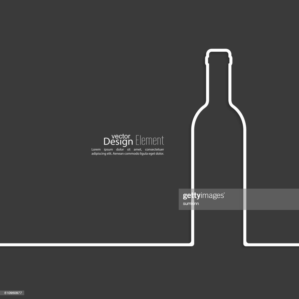 Ribbon in the form of wine bottle with shadow