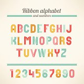 Ribbon Latin alphabet and numbers