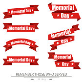 Ribbon, memorial day, set on isolated white background