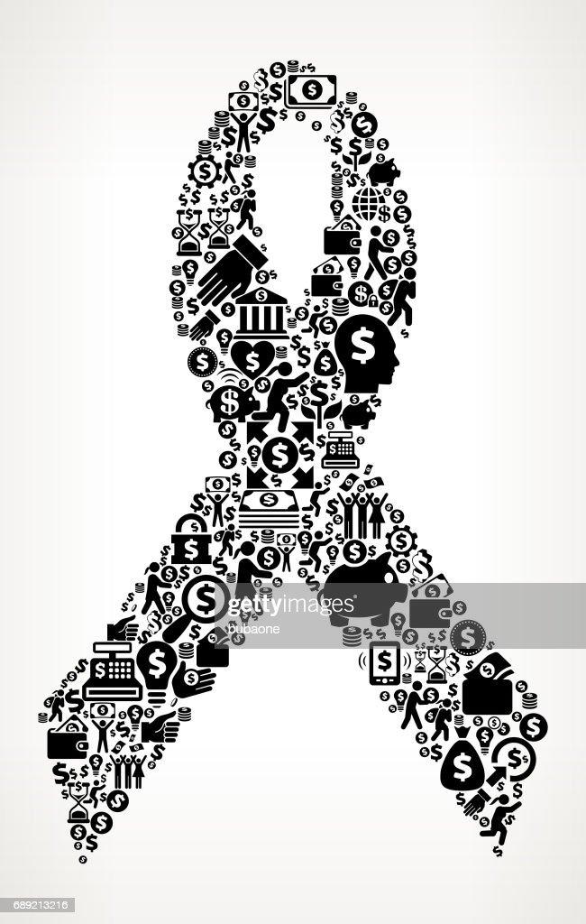 Ribbon  Money and Finance Black and White Icon Background : Stock Illustration