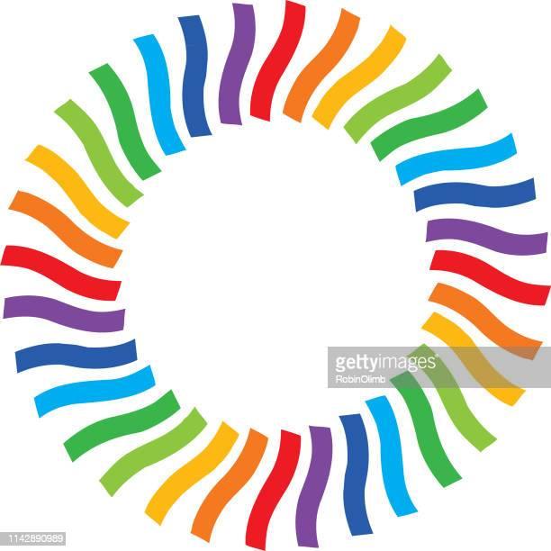 ribbon strips rainbow circle - phone cord stock illustrations