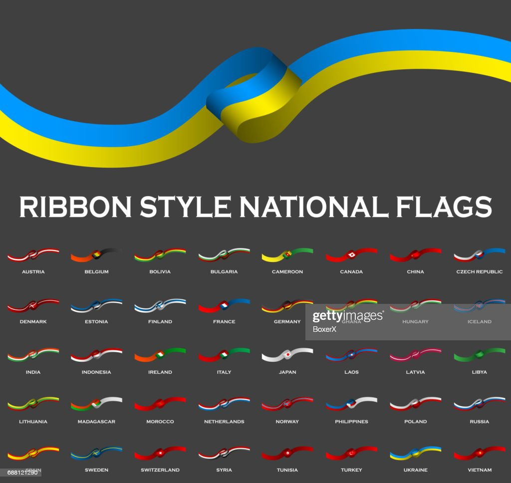 Ribbon style national flags 40 in 1 isolated on black. Vector Illustration