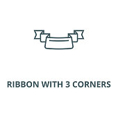 Ribbon with 3 corners vector line icon, linear concept, outline sign, symbol